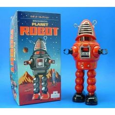 Exact replica of the all-time favorite Robby the Robot. Stands 8 tall and walks with sparkling action behind red cello face shield. Vintage Robots, Retro Vintage, Lucas Nursery, Robby The Robot, Space Toys, Tin Toys, Retro Toys, Do You Remember, 3 Things