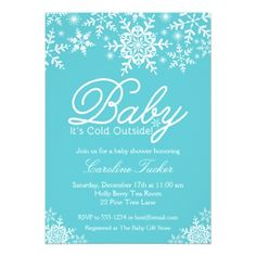 Beautiful Snowflakes Baby Shower Invitation - invitations personalize custom special event invitation idea style party card cards