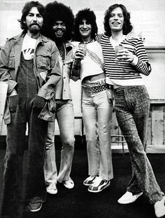 George Harrison, Billy Preston, Ron Wood, and Mick Jagger