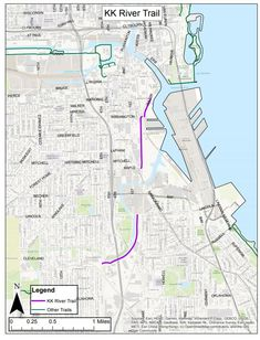 Kinnickinnic River Trail map. Image from the City of Milwaukee.