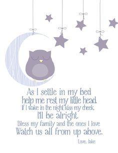 Nursery Decor Bedtime Prayer with Sleeping Owl - Owl . Childrens Bedtime Prayer, Bedtime Prayers For Kids, Bedtime Songs, Toddler Bedtime, Toddler Play, Baby Prayers, Short Prayers, Bedtime Routine, Bedtime Stories