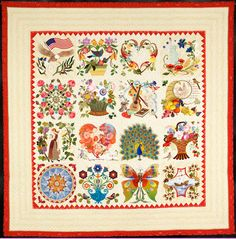 """""""Mi Amor"""" by Margarete Heinisch, Winner of Excellence in Hand Quilting award, 2013 Road to California show.  Margarete made the original Baltimore album-style blocks for her daughter's 25th wedding anniversary."""