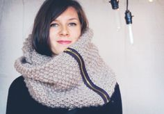 Zipper Cowl  Chunky wool knit in taupe/black by ThreadbareSupplyCo,