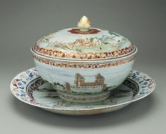 Covered punchbowl with platter, ca. 1745,  Chinese for the Swedish market, Hard paste  http://www.metmuseum.org/toah/works-of-art/40.133.1a,b-.2