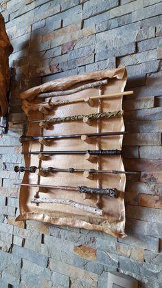 Harry Potter wands DIY display.
