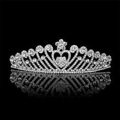 Princesa real cristal austriaco nupcial partido de la demostración corazón Tiara corona peines boda Hairwear joyería del pelo accesorio(China (Mainland))