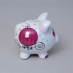 Small Princess Piggy Bank is hand painted and personalized in your choice of colors at Neat Stuff Gifts. $24.95