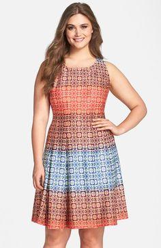 Gabby Skye Back Cutout Print Scuba Knit Fit & Flare Dress (Plus Size) | Nordstrom