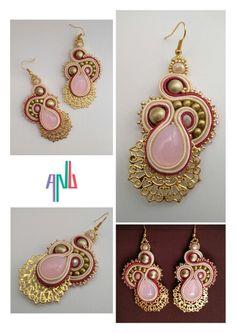 Handmade ANU Jewelry, Soutache Earrings, Pink, Golden