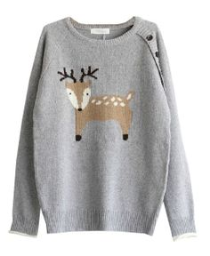 Lovely Elk Pattern Wood Buttons Decorated Pullover