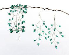 Jewelry set Emerald jewelry set Earrings and bracelet set Wedding jewelry set Green jewelry Vine jewelry Twig jewelry Bridal set gift 61651 Wedding Bracelet, Bracelet Set, Wire Wrapped Jewelry, Wire Jewelry, Bridal Earrings, Gold Earrings, Emerald Jewelry, Wedding Jewelry Sets, Bridal Sets