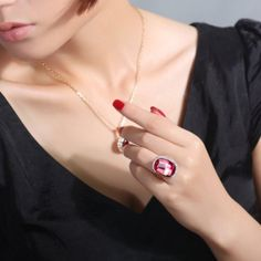 Red cocktail ring for party womens luxury rings at #topstylehub.##topstylehub #topstylehub.com #topstyle hub