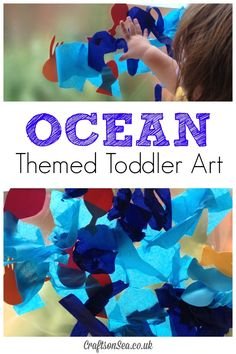 This fun ocean themed toddler art uses materials from around your home for an easy to set up sensory activity. Perfect for ocean themed preschool units. Ocean Activities, Fun Activities For Toddlers, Summer Activities, Preschool Activities, Toddler Themes, Toddler Snacks, Toddler Play, Toddler Stuff, Toddler Arts And Crafts