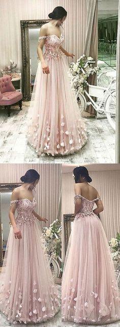 Pink tulle off shoulder long prom dress, pink evening dress #longpromdresses