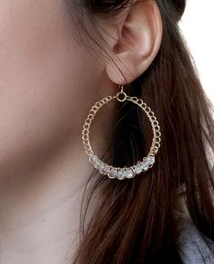 Large Gold Hoop Dangle Elegant Women Crystal Earrings Beaded Wire #Crochet #Jewelry Fashion Minimalist:  Elegant and shiny wire crochet hoop earrings mith crystal beads.  The... #handmade #jewelry #boho #etsy #epiconetsy #shopping #shopsmall #jewelryonetsy #etsyseller #crochet