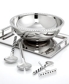 kate spade new york Pierrepont Place Serveware Collection - Trendy - Dining & Entertaining - Macy's Bridal and Wedding Registry Kitchen Items, Kitchen Gadgets, Kitchen Tools, Kitchen Wall Storage, Catering Equipment, Serveware, Black Enamel, Yorkie, Silver Plate
