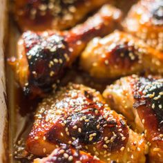 The easiest honey garlic sesame baked chicken is made with just 5 ingredients makes a perfect weeknight meal. Don't you just love it when you finally learn how to make one of your favorite ta… Baked Honey Garlic Chicken, Oven Baked Chicken, Creamy Chicken, Cheap Chicken Recipes, Garlic Chicken Recipes, Chicken Meals, Chicken Pasta, Bbq Chicken, Fried Chicken