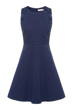 """Alannah Hill   The True Mystery Dress. Navy.   """"The True Mystery Dress is the perfect dress to take you from office to evening. Features a guipure lace insert appliqué  ● A straight silhouette  ● Sits at the knee"""""""