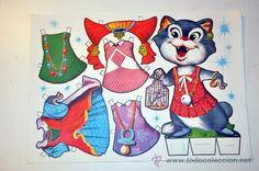 recortable fabula gato MARIQUITA año 1970 (Papel - Recortables - Animales)