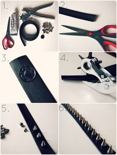 DIY studded belt - use this same principle to stud any leather object
