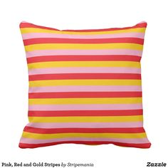 Pink, Red and Gold Stripes Throw Pillow #pillow #throwpillow #decorative #homedecor #interiordesign