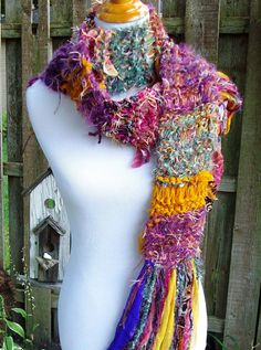Funky Knit Scarf Sari Chiffon Ribbon Fringy Accents Hand by Fanchi, $28.00
