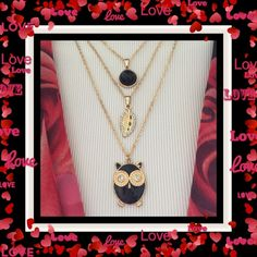 """🌺🌴🌺 3 SEPARATE NECKLACES 🌺🌴🌺 🌺🌴🌺 This is a 3 necklace set, which can be worn in any number of ways.  The main pendant is a black owl trimmed in gold.  The chain is 17"""" long w/ a 3""""extender.  I added an extra 3"""" extender.  The 2nd necklace with the black bead is 17"""" long w/ a 3"""" extender.  The 3rd necklace is a golden leaf with rhinestones and is 16"""" long w/ a 3"""" extender.  The owl is 3/4"""" w/ 1"""" high.  Chains can tangle so caution is suggested. 🌺🌴🌺 Jewelry Necklaces"""