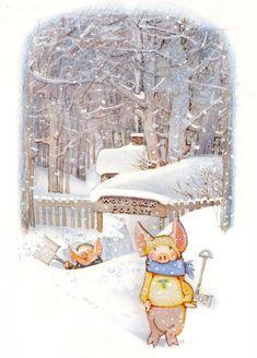 Art illustration for children's books: Woodcock Pocket - Toot & Puddle, 1987