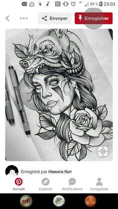 Neo Traditional, Deviantart, Tattoos, Drawings, Girls, Make Up, Little Girls, Tatuajes, Daughters