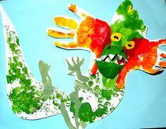 Handprint, footprint, bubble wrap Chinese dragon