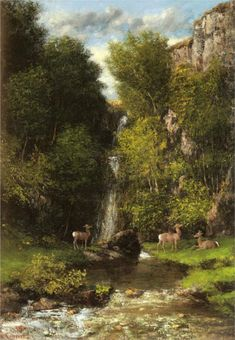 A Family of Deer in a Landscape with a Waterfall - Gustave Courbet