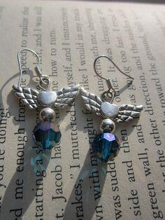 Small heart with wings  dangle earrings by EveryGirlsBestFriend, $7.00