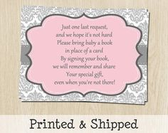 Bring a Book Inserts for Baby Showers Girls by TheInviteLadyShop, $11.00