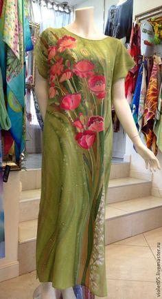 ПЛАТЬЕ Полевые маки батик, шелк,ручная роспись - Батик,дизайнерская одежда