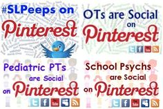 """WANT TO FIND AND BE FOUND BY OTHER OTs ON PINTEREST AND OTHER SOCIAL MEDIA PLATFORMS?  If yes, please go to our """"4 OTs"""" and look for the pin that says """"OTs are Social"""" and follow the instructions.  There you will find lots of pediatric OTs to follow and find on Pinterest and Twitter.  Happy Socializing!"""