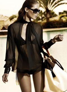 Black bikini w/ sheer black cover-up Style Work, Mode Style, Style Me, Black Style, Surf Style, Classic Style, Bikinis, Swimsuits, Swimwear