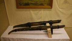 Two hackbuts said to be of 14th century at Display at Schützenverein (Marksmens Society) of Ornbau, Bavaria, Germany