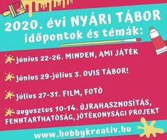 NYÁRI TÁBOR IDŐPONTOK  Ahogy ígértük mutatjuk Nektek kreatív nyári táboraink időpontjait és témáit! A Budafoki Közösségi Tér Egyesület szervezésében a hobbykreativ.hu közreműködésével az alábbi táborokat hirdetjük meg:  1. június 22-26. MINDEN AMI JÁTÉK  2. június 29-július 3. OVIS TÁBOR  3. július 27-31. FILM FOTÓ  4. augusztus 10-14. ÚJRAHASZNOSÍTÁS FENNTARTHATÓSÁG. Ezen a héten egy jótékonysági projektet is megvalósítunk  a résztvevőkkel!   Az ovis táborba 4-6 éves a többi táborba 7-14…