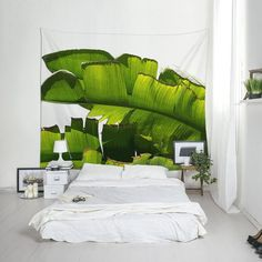 Tropical Tapestry, Palm Tree Art, Palm Leaf Tapestry, Tropical Wall Decor, Home Decoration. Tropical Wall Decor, Green Wall Decor, Green Wall Art, Tapestry Nature, Wall Tapestry, Palm Leaf Wallpaper, Palm Tree Art, Flur Design, Floral Room