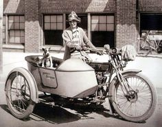 Biking Life 20's Style - vintage Harley Davidson Round the World motorcycle with sidecar...vintage photograph.