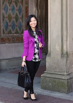 I took a cue from the Obama girls and added a pop of purple to today's outfit. The contrast between the black and white graphic print shirt and the bright violet blazer makes for a sharp, clean look. Purple Jacket, Purple Skirt, Purple Outfits, Colourful Outfits, Blazer Outfits, Blazer Fashion, Nyc Fashion, Work Fashion, Fashion Ideas