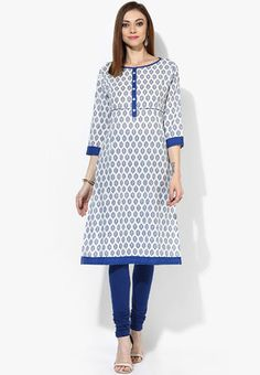 Printed 3/4Th Sleeves Kurta With Contrast Placket And Pipings Ideal for everyday wear, this white kurta by Sangria is worth investing in. Exhibiting soothing colour scheme and a charming print, it has contrast coloured neckline and placket for added attraction. Club this cotton kurta with churidar to look graceful. http://jbo.ng/owv5G8E