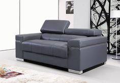 176551113 Gray Soho Italian Leather Sofa