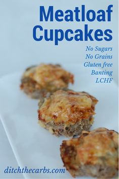 A fabulous recipe for meatloaf cupcakes. Topped with melted cheese makes these little bundles a great snack idea, lunch or for the school lunch boxes. Make a double batch and freeze them so you're ready for the next few weeks. Gluten free, grain free and low carb. | ditchthecarbs.com via @ditchthecarbs