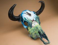 A wide variety of southwestern steer skulls. Hand Painted Steer Skull 20x21 -Eagle- Mission Del Rey Southwest