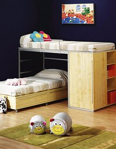 New small kids room shared fit Ideas Room For Two Kids, Cool Kids Rooms, Bunk Beds With Storage, Wood Bunk Beds, Kids Bedroom Designs, Kids Room Design, Bedroom Ideas, Ikea Kids Room, Loft