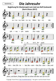 """Accompaniment to the song """"Die Jahresuhr"""" by Rolf Zuckowski, with colorful notes of two … - Bildung Kindergarten Portfolio, Kindergarten Songs, Rolf Zuckowski, Colorful Notes, Organized Mom, Music Activities, Kids Songs, Music Lessons, Kids And Parenting"""
