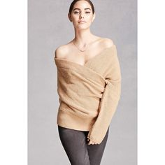 Forever21 Wool-Blend Surplice Sweater ($48) ❤ liked on Polyvore featuring tops, sweaters, nude, dolman sleeve sweater, long sweaters, long tops, dolman-sleeve top and full length sweater
