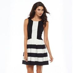 {Pleated Fit & Flare Dress in Black & White Stripe - under $50}