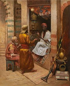 vendor of eastern curios , Cairo 1887 BY Rudolf Weisse (Swiss painter , Oil on panel 59 x cm Arabian Art, Graffiti Wall Art, Amazing Paintings, African History, Islamic Art, Wall Collage, Canvas, Antiques, Drawings